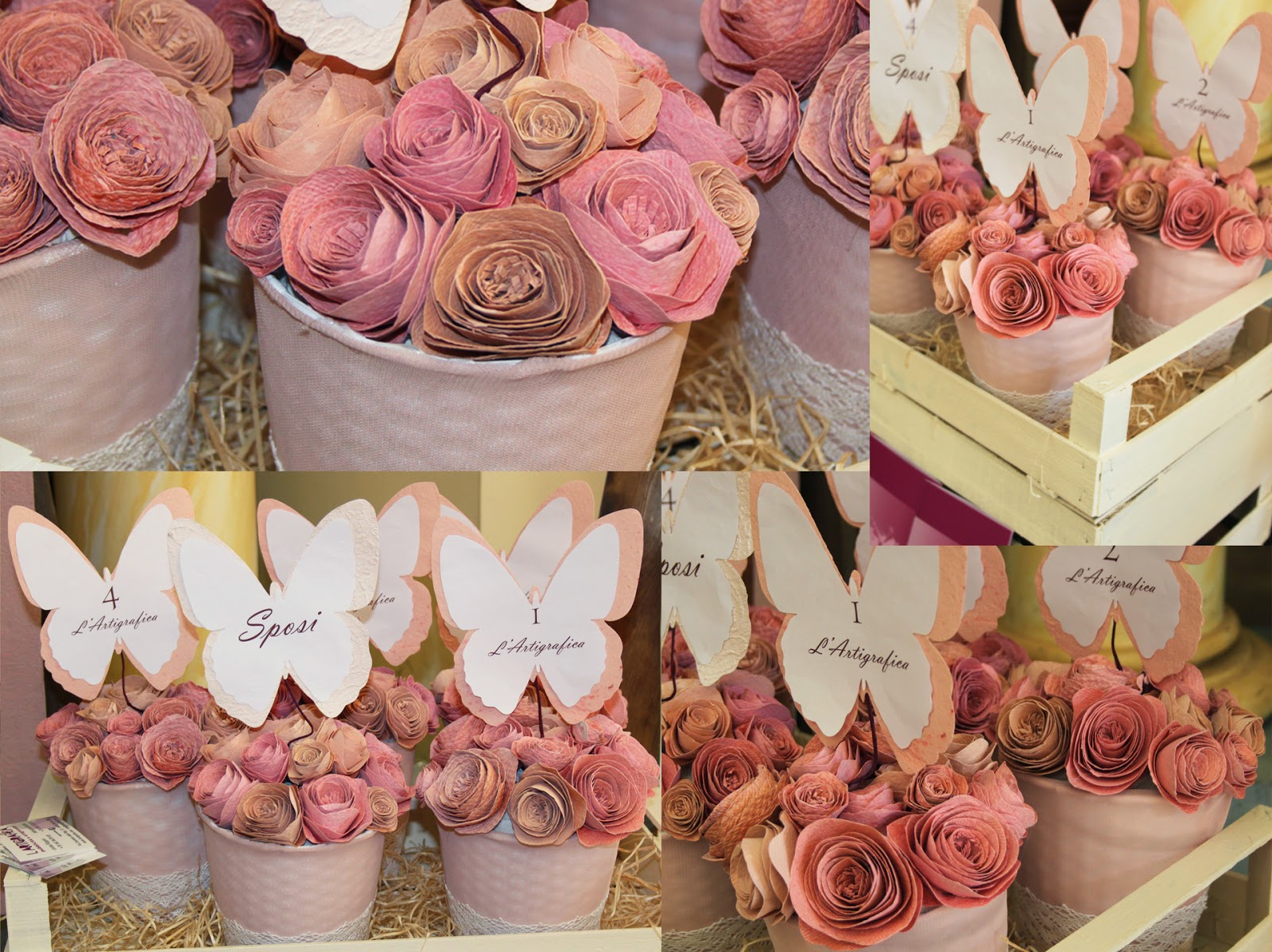 Centrotavola Matrimonio Tema Dolci : Matrimonio azzurro polvere centrotavola con rose di carta