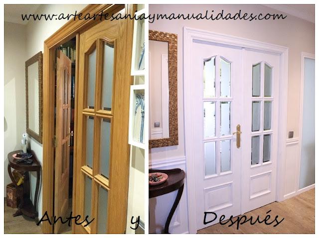 Arte artesania y manualidades lacado de puertas handmade for Pintar puertas de blanco en casa