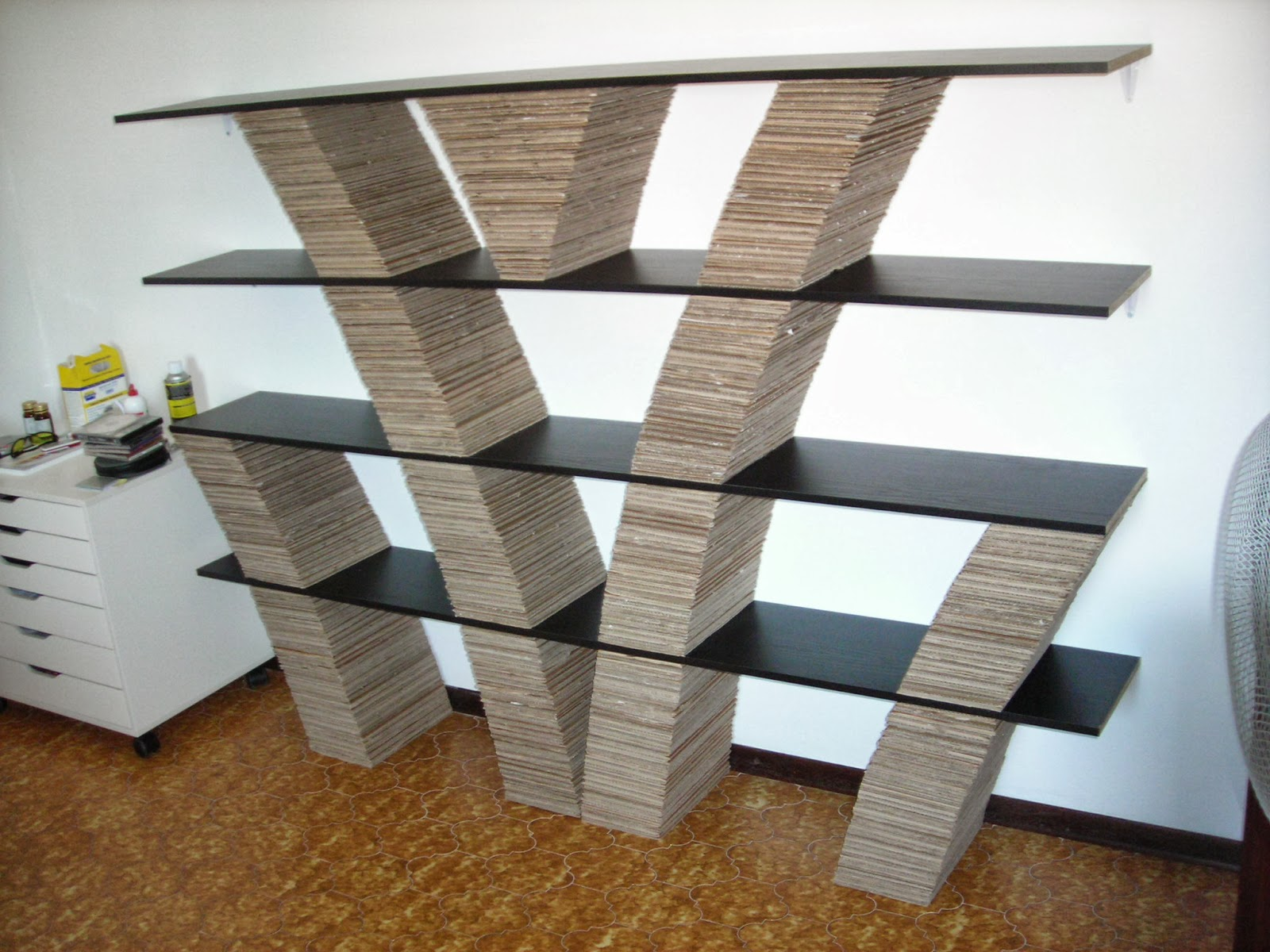environmental sale recycled freindly furniture cardboard bookshelf corrugated material