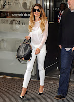 Cheryl Cole white top and tight white pants