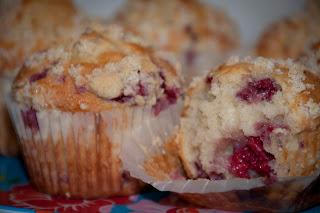 Warm raspberry muffins