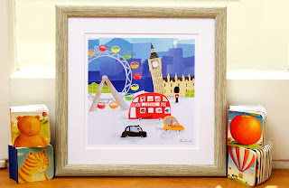 Our London Town Fine Art Print is shown in a frame.