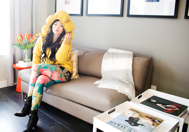 Vancouver fashion blogger Jasmine Zhu wearing Mercibeaucoup yellow space coat, romwe flower tights, romwe baroque skirt