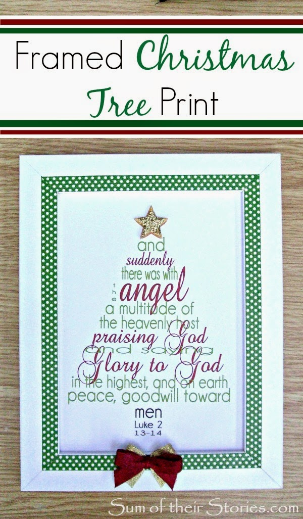 Printable Christmas tree verse framed gift