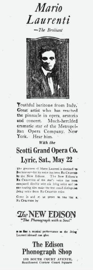 MARIO LAURENTI (1890 - 1922): THE TRAGIC MET BARITONE CD