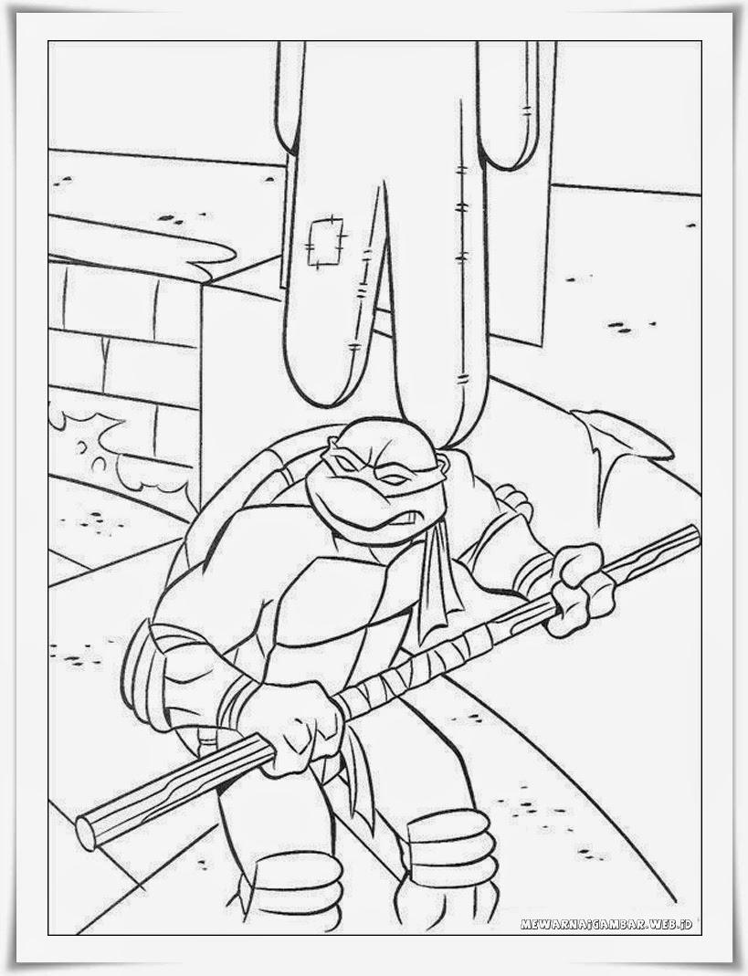 mewarnai gambar leonardo kura-kura ninja
