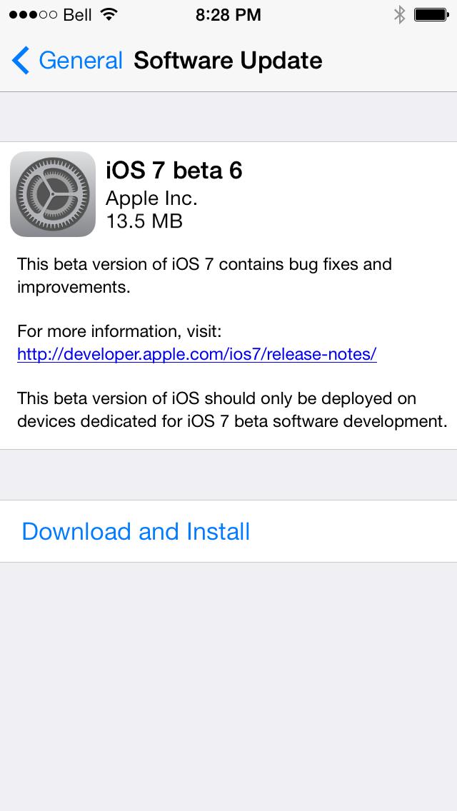 iOS 7 Beta 6 Download Now