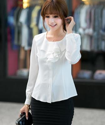 blouse korea lengan panjang berenda O neck sifon