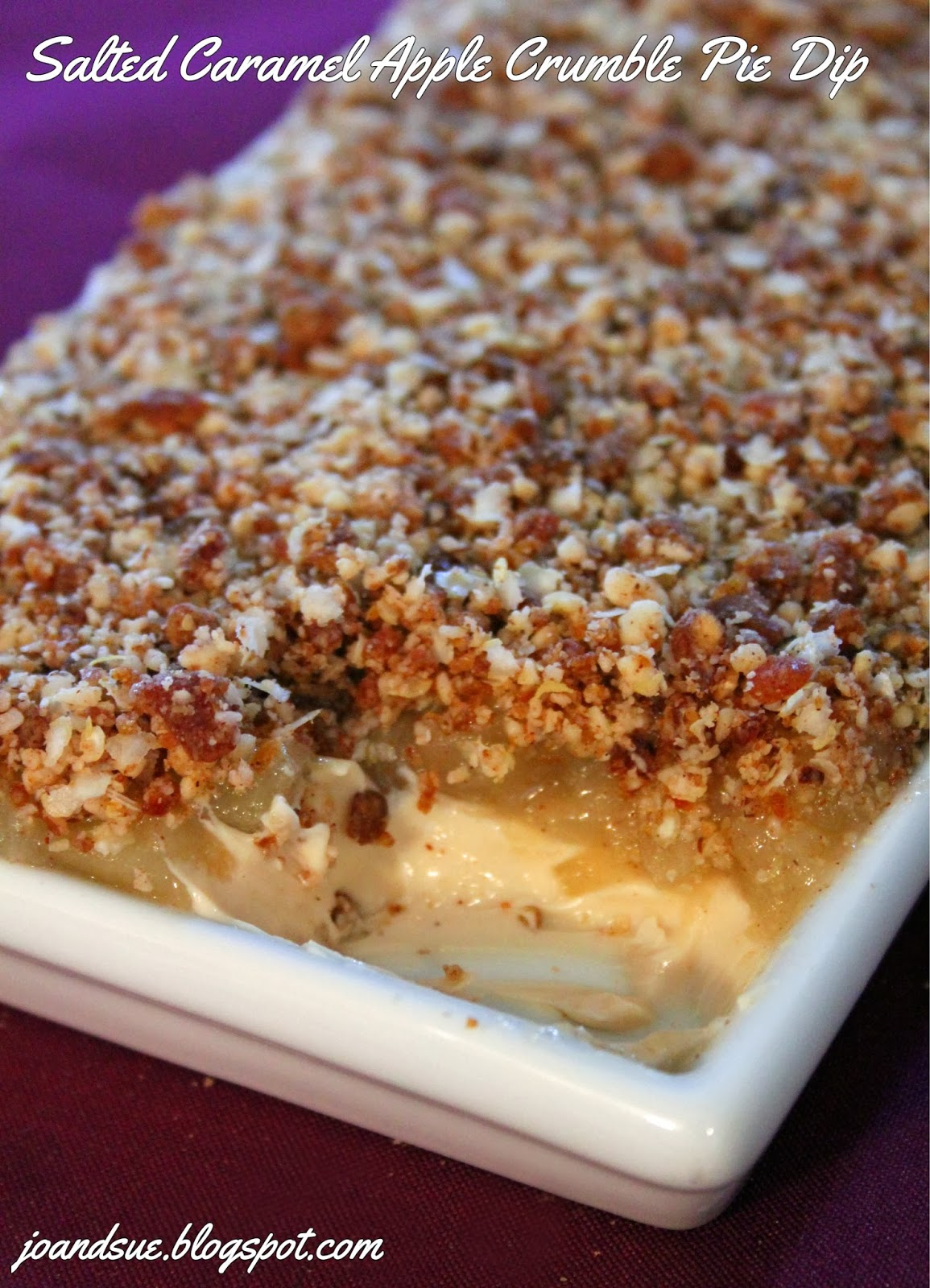 Jo and Sue: Apple Crumble Salted Caramel Cheesecake Pie Dip