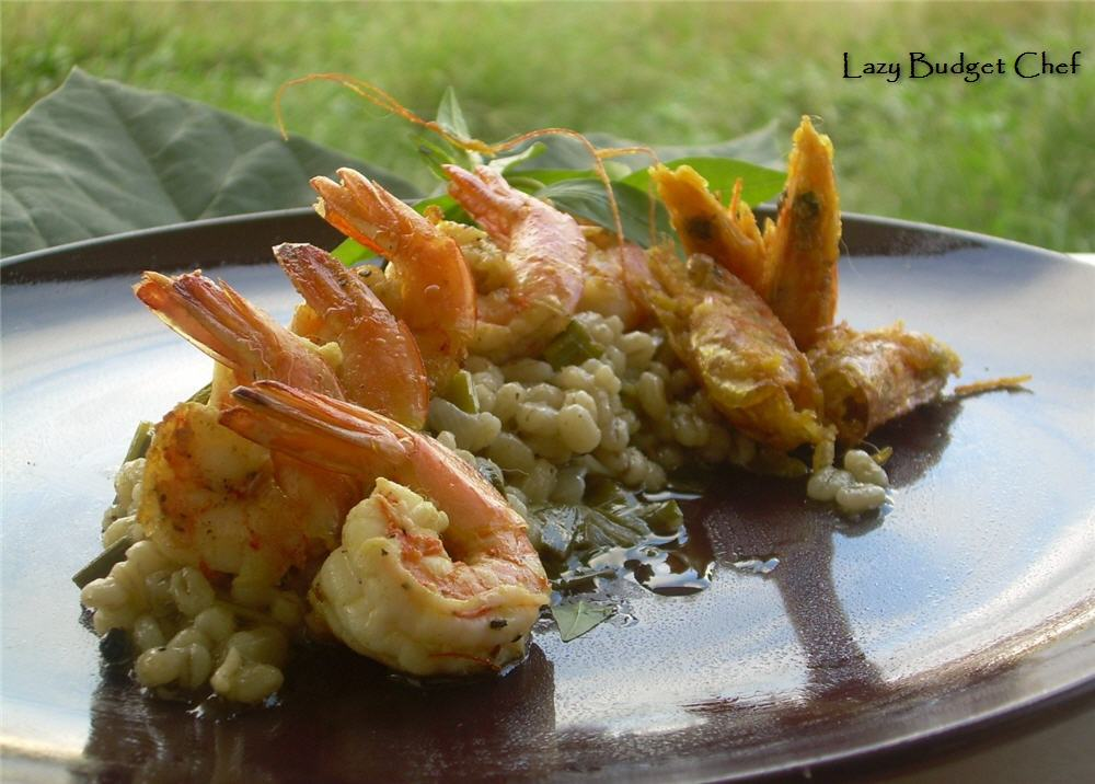 Shrimp Risotto With Sweet Peas And Leeks Recipe — Dishmaps