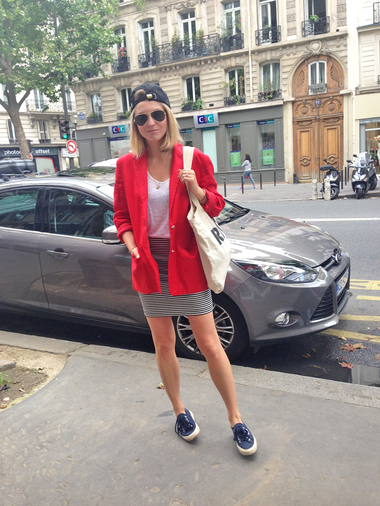 Ralph Lauren red blazer, Navy Superga sneakers, striped Joe Fresh mini skirt, Ray-Ban Aviators, Bow & Drape backwards baseball cap, VERAMEAT elephant chain necklace