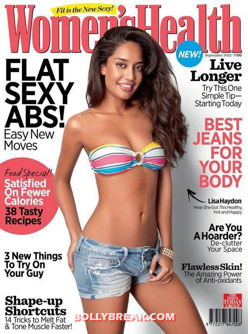 Lisa Haydon on Women's Health Cover in bikini top - Indian Magazines September 2012 Cover Pages Scans - Your Pick?