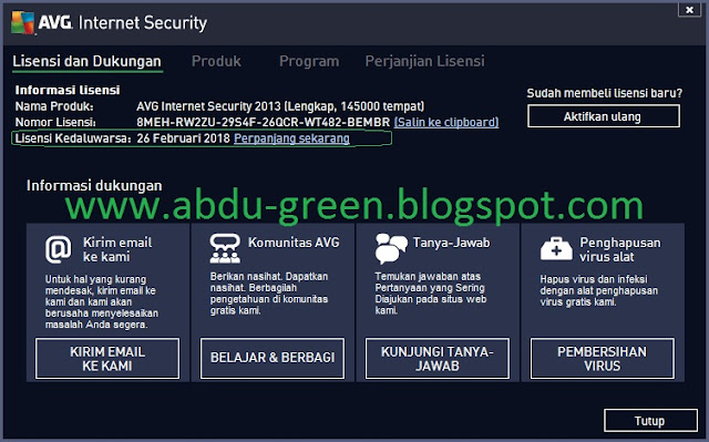 AVG Internet Security 2013 + Serial Number Sampai 2018