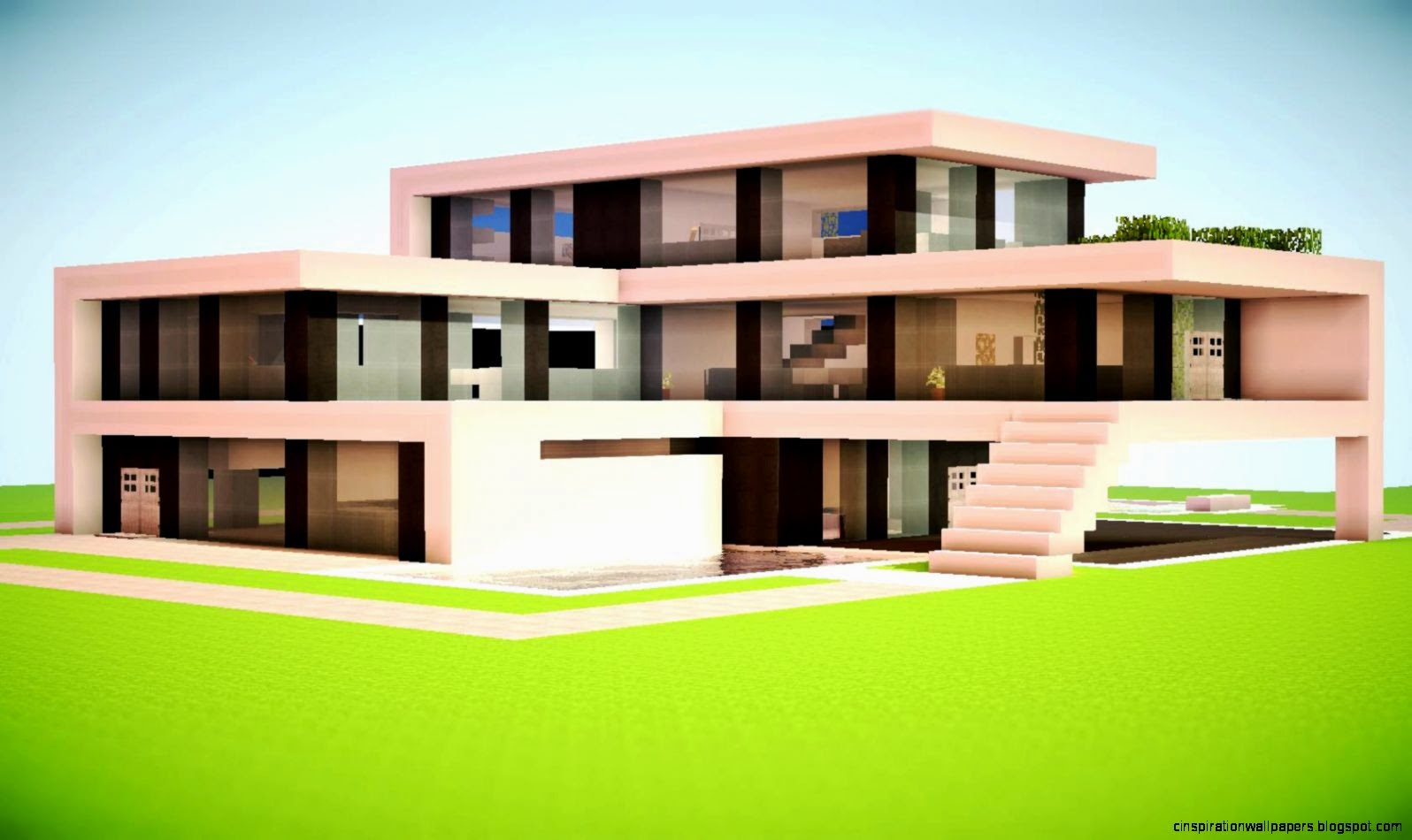 Minecraft modern house designs inspiration wallpapers for Mordern house