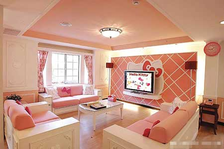 Pink living room decoration in Hello Kitty house is also attractive as like  the exterior look. Hello Kitty theme is still applied as decoration idea,  ...