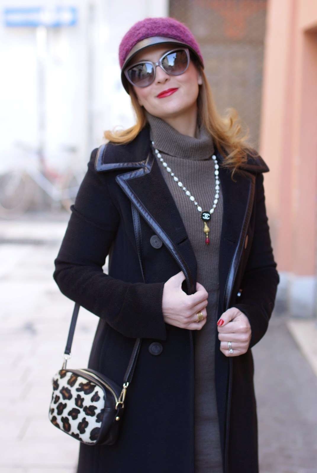 Balenciaga black coat, Chanel inspired necklace, Sofia borse Candy pochette, Fashion and Cookies, fashion blogger