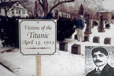 Retrato de Fernando Ovies y del Cementerio Católico de Mount Olivet en Halifax en el que esta enterrado