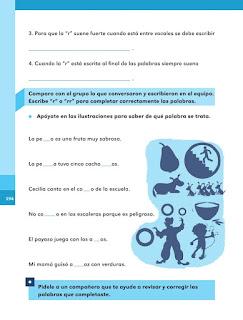 """Apoyo Primaria Español 1er grado Bimestre 5 lección 9 ¿Con una """"r"""" o con dos?"""