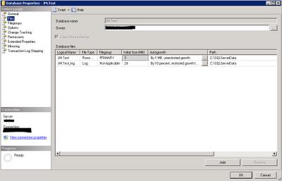 Configuración inicial de los ficheros de una base de datos en SQL Server