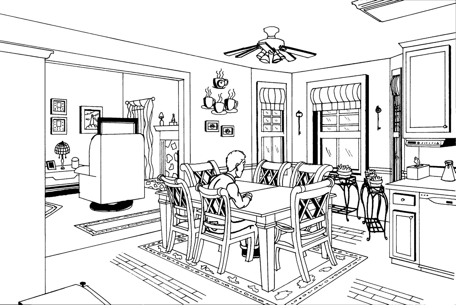 Two point perspective interior kitchen for Living room 2 point perspective