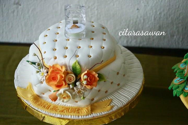 hexagon open ring box cake / kek kotak cincin hantaran hexagon