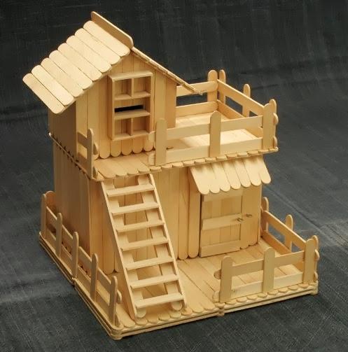 Barbaridade reciclagem casinhas de palitos de picol for Stick built cabin plans