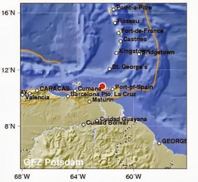 Epicentro sismo 6,1 grados en Venezuela, el 11 de Octubre de 2013