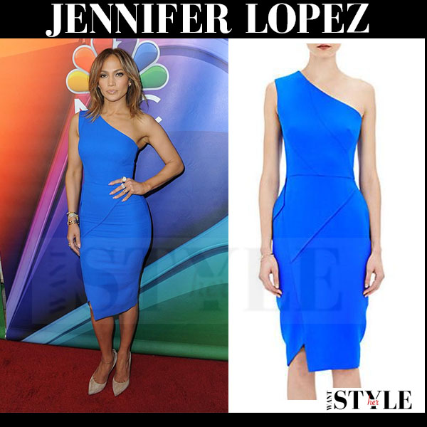 Jennifer Lopez in bright blue one shoulder dress what she wore red carpet looks