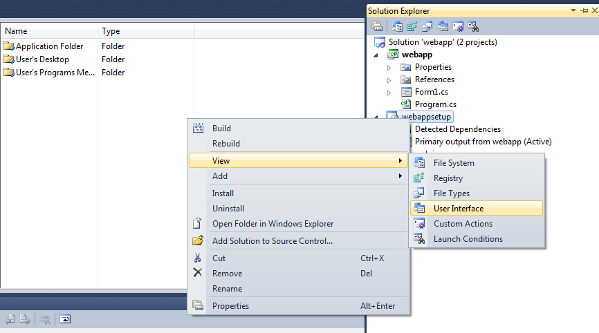 Add User Interface in Visual Studio 2010 setup project