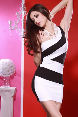 BLACK WHITE SEXY ONE SHOULDER COLORBLOCK MINI DRESS