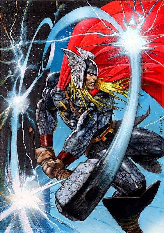 Dessin de Simon Bisley représentant Thor