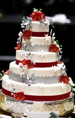Silver and Red Wedding Cakes Ideas