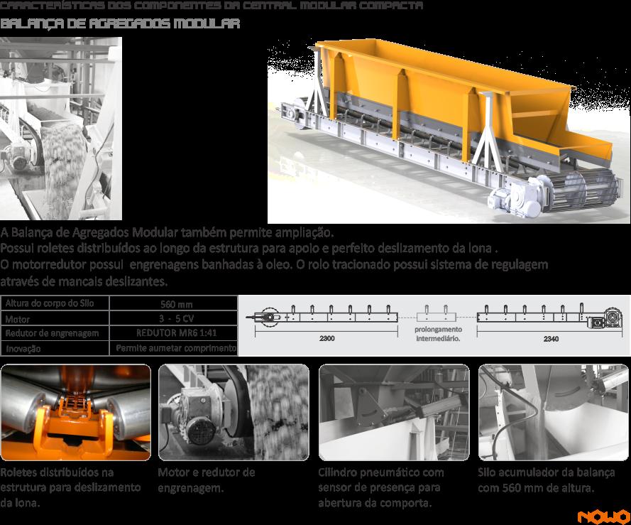 Silos de Agregado, Aggregate Silos,  Silos de Agregado, Sistema de pesagem de Agregados, Aggregate Weighing, System Sistema de Pesaje de Agregados,Esteira Transportadora, Transfer Conveyor, Cinta Transportadora, Silo de Cimento, Cement Silo Silo de Cemento, Silo de Cimento Rasga Saco, Bag tearing cement silo,  Silo de Cemento Rasga-Bolsa, Esteira do Sistema de Pesagem, Weighing System Conveyor, Cinta del sistema de pesaje, Balança de Cimento Cement Scales,  Balanza de Cemento, Transportador Helicoidal, Screw Conveyor,  Transportador Helicoidal, Sistema de Dosagem de Água, Water Dosing System, Sistema de Dosificación de Agua, Sistema de Dosagem de Aditivo,  Additive Dosing System, Sistema de Dosificación de Aditivo, Automação Painel Elétrico Central, Electric Panel Automation Center, Automatización Panel Eléctrico Central, Misturador Planetário, Planetary Mixer , Mezclador Planetario, Central de Concreto para alimentação de Caminhão Betoneira, Batching Plant to feed Concrete Mixer Truck. Central de hormigón para alimentación de Camión Hormigonera, Usina Dosadora ;  Dosing ; Usina Dosificadora   Dosador de água com pré-determinador que proporciona economia e redução de perdas Bomba d' água  Compressor de ar  Painel elétrico de comando para operação da central dosadora Moega rasga saco para cimento , NOWO, NOWO MÁQUINAS