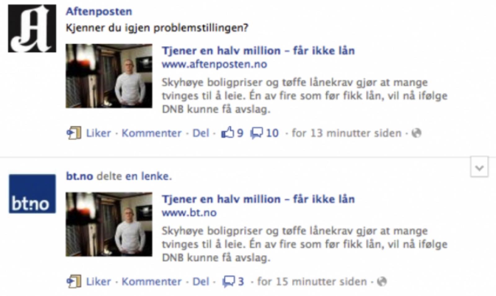 Aftenposten og BT Facebook