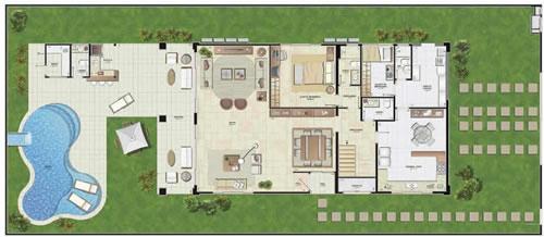 Decorar e planejar sonhos projeto apto de 75 m com for Fotos de casas grandes con piscina