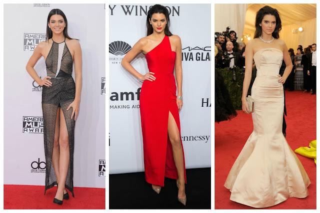 Kendall Jenner lacrando em lindos vestidos de festa.