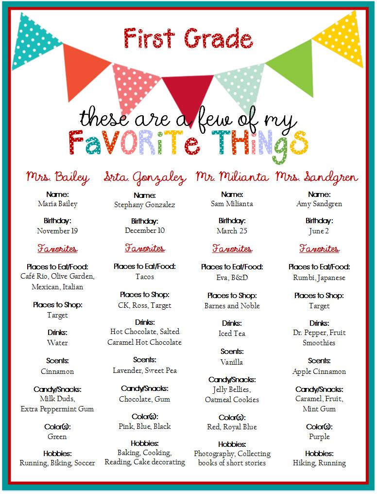 Silver Mesa Elementary PTA: Teacher Gift Ideas - First Grade