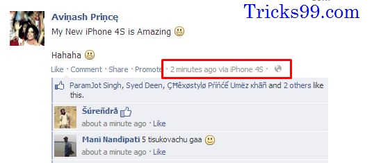 your friends by updating Facebook Status via iPhone, iPad, BlackBerry