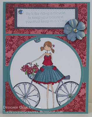 Flora and Her Bicycle Stampingbella Card based on Verve Sketch