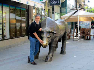 Wayne with Bull in Ul Makedonija - Skopje, Macedonia