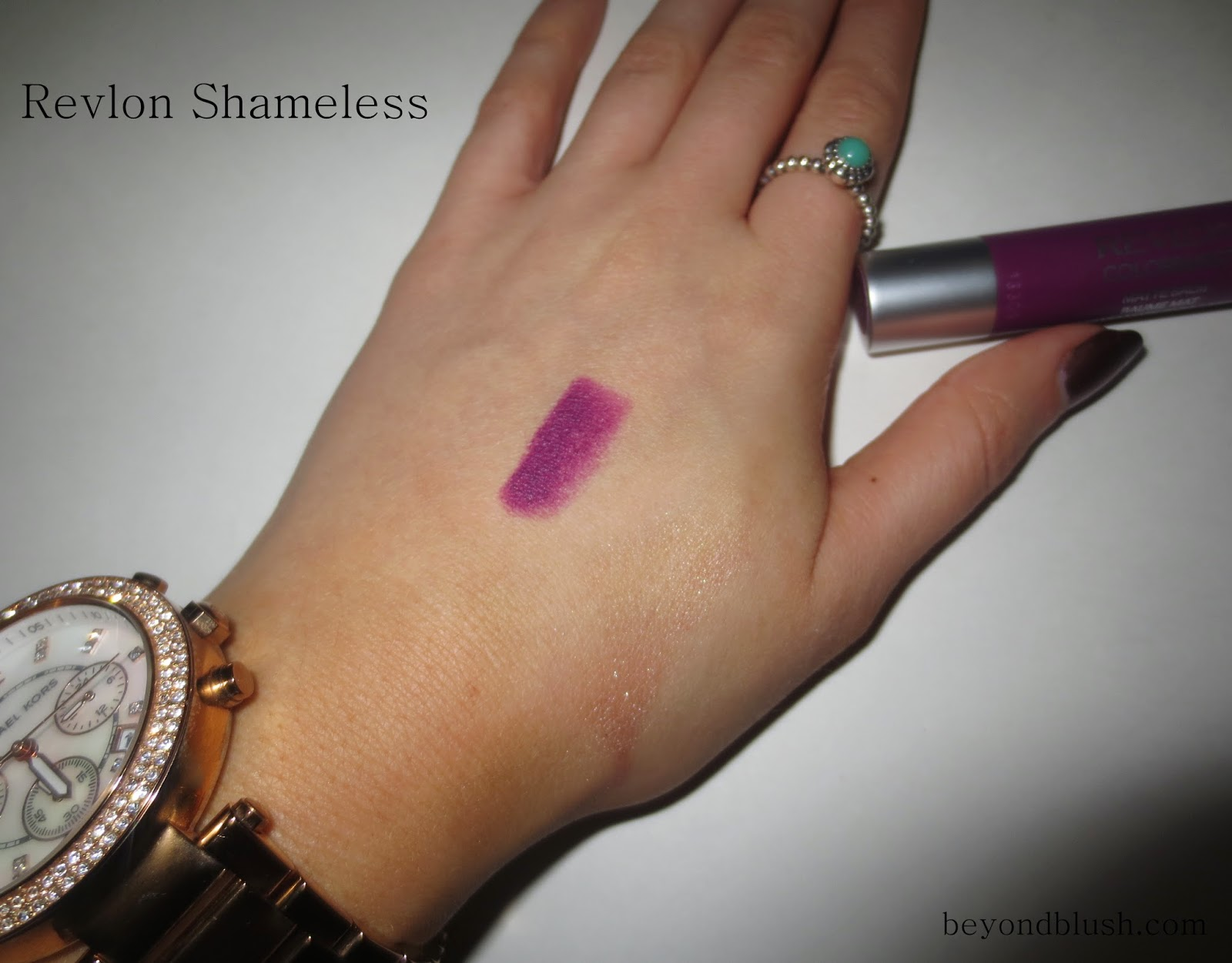 Revlon ColorBurst Matte Balm Shameless swatch on hand
