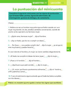 Respuestas Apoyo Primaria Español 2do grado Bloque 4 lección 16 La puntuación del minicuento