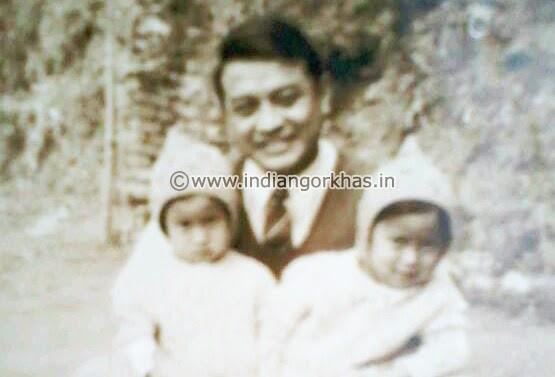 Ari Bahadur Gurung with his twin daughters in kalimpong