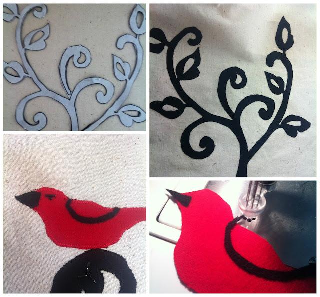pillow with a bird steps