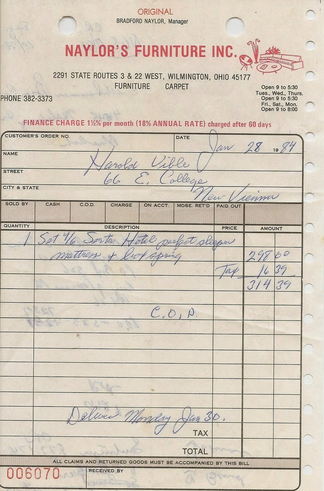 uibles a family blog 1984 naylor s furniture receipt jan 28