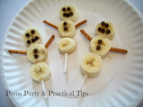banana snowmen treats on a stick