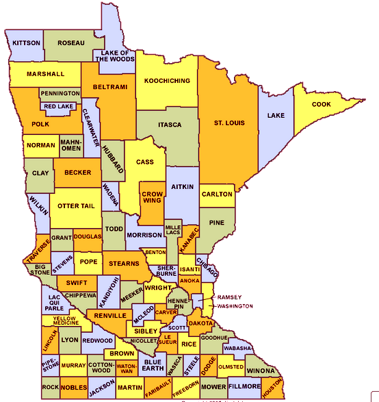 Minnesota County Map Images