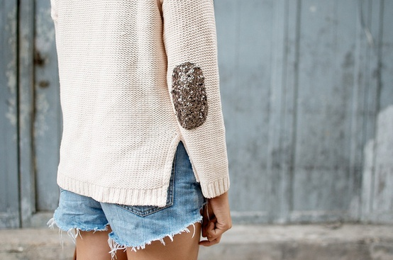 DIY Sequin Elbow Patch Sweater! - YouTube