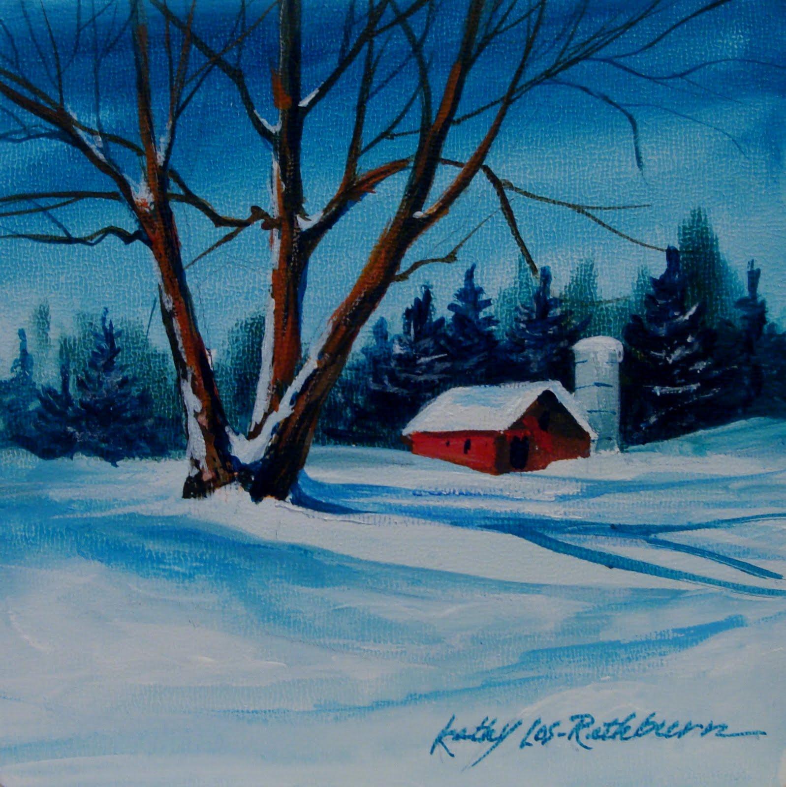 Kathy los rathburn watercolorist winter in acrylics for Christmas paintings easy
