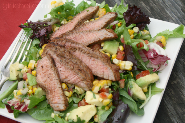 Grilled Steak Salad with Corn Salsa | girlichef.com